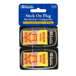 """48 Units of Bazic 25 Ct. 1"""" X 1.7"""" Yellow Color Printed Sign Here Flags W/ Dispenser (2/pack) - Sticky Note & Notepads"""
