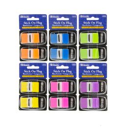 """48 Units of Bazic 30 Ct. 1"""" X 1.7"""" Neon Color Standard Flags W/ Dispenser (2/pack) - Sticky Note & Notepads"""