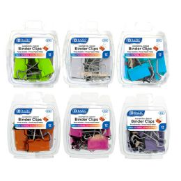 48 Units of Bazic Assorted Size Color Binder Clip (12/pack) - Push Pins and Tacks