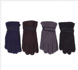 72 Units of Men's Fleece Glove's - Assorted Colors - Winter Gloves