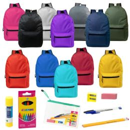 "24 Units of 15"" Backpacks with 12 Piece School Supply Kit - In 12 Assorted Colors - School Supply Kits"