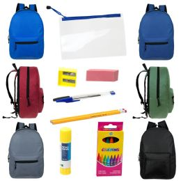 """12 Units of 15"""" Backpacks With 12 Piece School Supply Kit - In 6 Assorted Colors - School Supply Kits"""