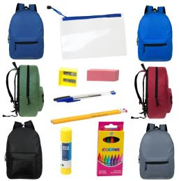 """24 Units of 17"""" Backpacks with 12 Piece School Supply Kit - In 6 Assorted Colors - School Supply Kits"""