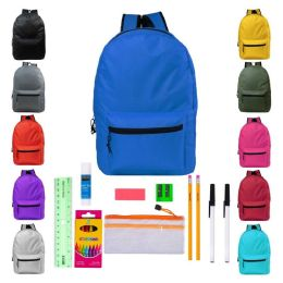 24 Units of Backpacks with 14 Piece School Supply Kits - School Supply Kits