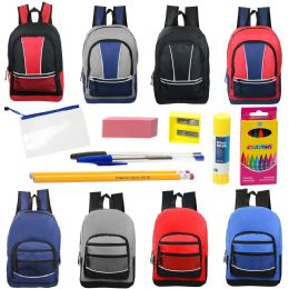 """48 Units of 17"""" Backpacks With 12 Piece School Supply Kit In 8 Assorted Styles Sport - School Supply Kits"""