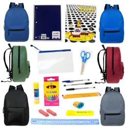 """24 Units of 15"""" Backpacks In 6 Assorted Colors with 20 Piece Wholesale School Supply Kit - School Supply Kits"""