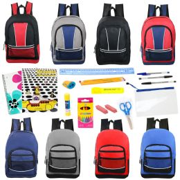 """24 Units of 17"""" Backpacks With 20 Piece School Supply Kit in 8 Assorted Styles Sport - School Supply Kits"""