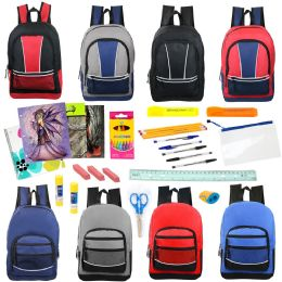 """24 Units of 17"""" Backpacks with 30 Piece School Supply Kit - In 8 Assorted Styles - School Supply Kits"""