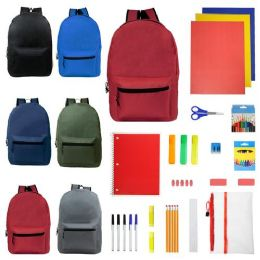 """24 Units of 19"""" Backpacks With 30 Piece School Supply Kit - In 6 Assorted Color - School Supply Kits"""