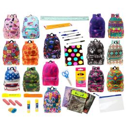 """24 Units of 17"""" Backpacks With 30 Piece School Supply Kit - In 8 to 12 Prints - School Supply Kits"""