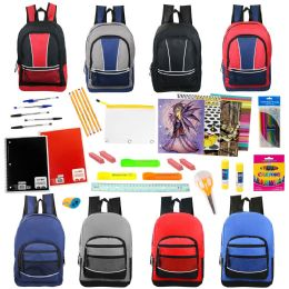 """24 Units of 17"""" Backpacks With 53 Piece School Supply Kit In 8 Assorted Styles Wholesale Sport - School Supply Kits"""