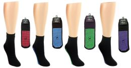 24 Units of Women's Trampoline Non-Skid Grip Socks - Assorted Colors - Size 9-11 - Womens Ankle Sock
