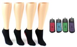 24 Units of Boy's & Girl's Trampoline NoN-Skid Grip Socks - Assorted Colors - Sizes 4-6 - Boys Ankle Sock