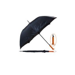 "48 Units of 45"" Long Black Umbrella With Wood Handle - Umbrellas & Rain Gear"