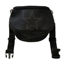 24 Units of Oversize Fanny Pack In Black With Star - Fanny Pack