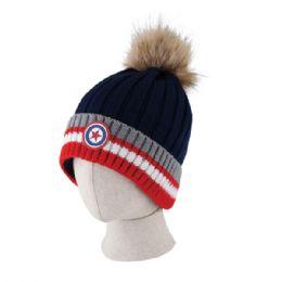 48 Units of Kid's Chenille Pom Pom Hat - Junior / Kids Winter Hats