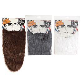 24 Units of 3 Assorted Extra Long Fake Beard - Party Novelties