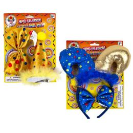 48 Units of 2pc Clown Costume Set W/tie And Clip-on Hat Or Headband - Party Novelties