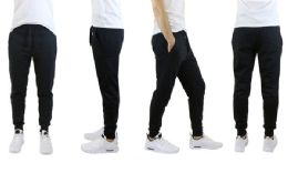 30 Units of Men's Slim Fit Fleece Jogger Sweatpants With Zipper Pockets, Solid Black - Mens Pants