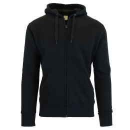 24 Units of Men's FleecE-Lined Zip Hoodie Solid Black - Mens Sweat Shirt