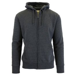 24 Units of Men's FleecE-Lined Zip Hoodie Solid Gray - Mens Sweat Shirt