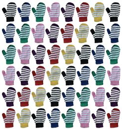 48 Units of Yacht & Smith Kids Striped Mitten With Stretch Cuff Ages 2-8 - Kids Winter Gloves