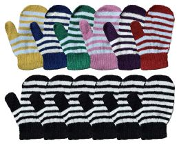 12 Units of Yacht & Smith Kids Striped Mitten With Stretch Cuff Ages 2-8 - Kids Winter Gloves