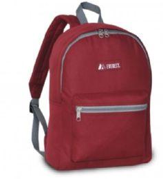 """30 Units of Everest Basic Color Block Backpack In Burgundy - Backpacks 15"""" or Less"""