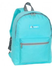 "30 Units of Everest Basic Color Block Backpack In Aqua - Backpacks 15"" or Less"