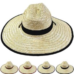 12 Units of Adults Large Black Brim Straw Hat - Sun Hats