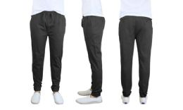 24 Units of Men's Cotton Stretch Twill Joggers In Black - Mens Pants