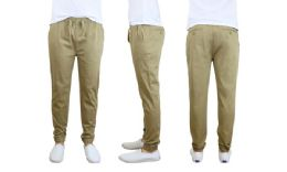 24 Units of Men's Cotton Stretch Twill Joggers In Khaki - Mens Pants