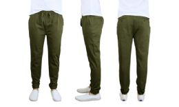 24 Units of Men's Cotton Stretch Twill Joggers In Olive - Mens Pants