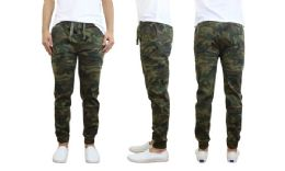 24 Units of Men's Cotton Stretch Twill Joggers In Woodland Camo - Mens Pants