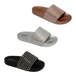 30 Units of Women's Rhinestone Slides - Women's Slippers