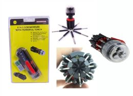 24 Units of 8 In1 Screwdriver With Powerful Torch - Screwdrivers and Sets
