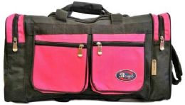 24 Units of 24 Inch Hot Pink Heavy Duty Duffel Bag - Duffel Bags