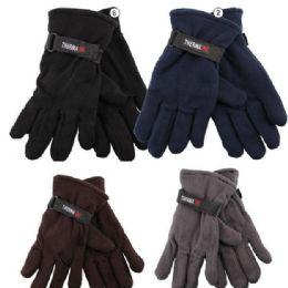 72 Units of Men's Fleece Glove's - Assorted Colors - Fleece Gloves