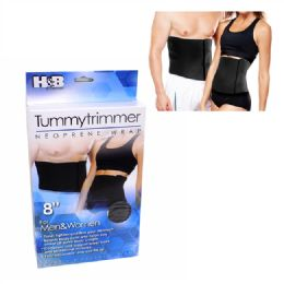72 Units of Black 8 Inch Tummy Belt Men And Women - Bandages and Support Wraps