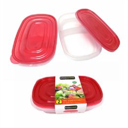 24 Units of 2 Piece of 2 Compartment Food Container - Food Storage Containers