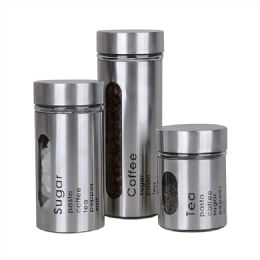 8 Units of Stainless Steel Window Canister Set - Food Storage Containers