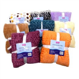 12 Units of Assorted Terry Cloth Blanket - Fleece & Sherpa Blankets
