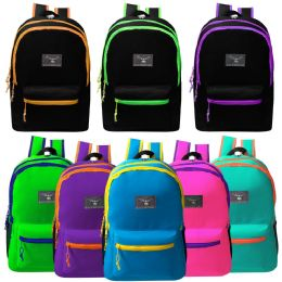 """24 Units of 19"""" Large Backpacks With Side Mesh Water Bottle Pockets In 8 Assorted Colors - Backpacks 18"""" or Larger"""