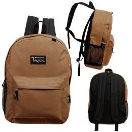 "24 Units of 17 Inch Classic Bulk Backpacks In Brown - Backpacks 17"""