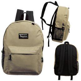 """24 Units of 17 Inch Classic Bulk Backpacks In Khaki - Backpacks 17"""""""
