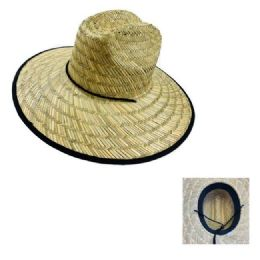 24 Units of Straw Hat with Large Brim [Black Edge] - Sun Hats
