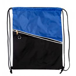 48 Units of Drawstring Cinch Backpacks With Zipper Pocket In Blue - Draw String & Sling Packs