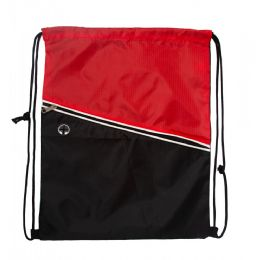 48 Units of Drawstring Cinch Backpacks With Zipper Pocket In Red - Draw String & Sling Packs