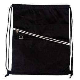 48 Units of Drawstring Cinch Backpacks With Zipper Pocket In Black - Draw String & Sling Packs