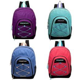 """24 Units of 17' Classic Bungee Backpack in 4 Assorted Colors with Mesh Water Bottle Pocket - Backpacks 17"""""""